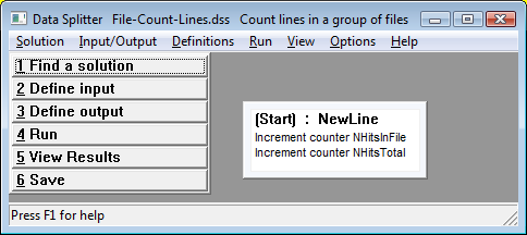 screen shot: file line counter