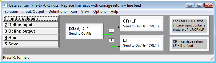 screen shot: line feed to carriage return + line feed converter