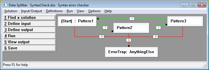screen shot: syntax checker